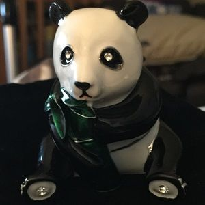 trinket box panda by Art, enamel, rhinestone .